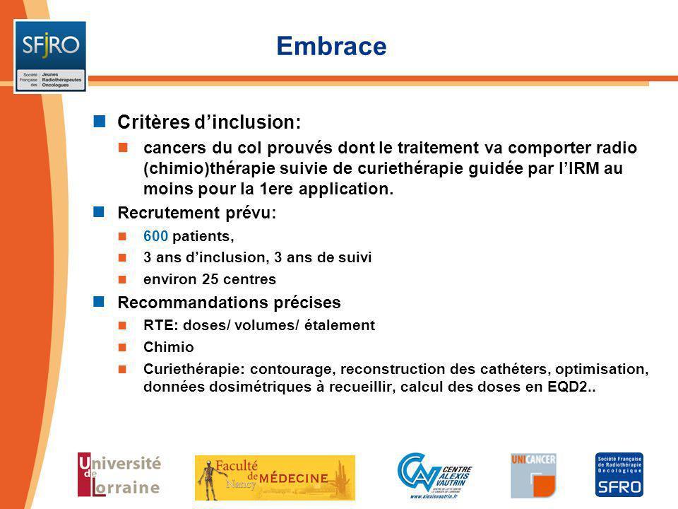 Embrace Critères dinclusion: cancers du col prouvés dont le traitement va comporter radio (chimio)thérapie suivie de curiethérapie guidée par lIRM au