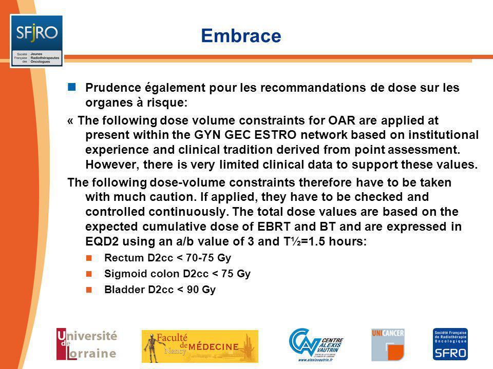Embrace Prudence également pour les recommandations de dose sur les organes à risque: « The following dose volume constraints for OAR are applied at p
