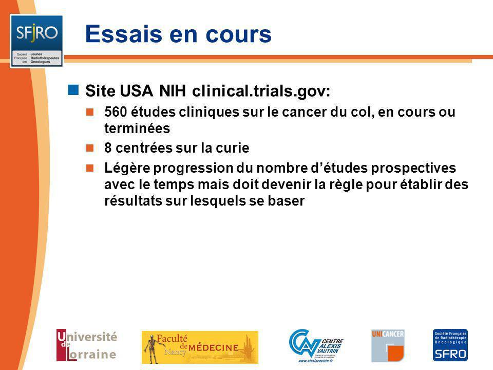 Essais en cours Site USA NIH clinical.trials.gov: 560 études cliniques sur le cancer du col, en cours ou terminées 8 centrées sur la curie Légère prog