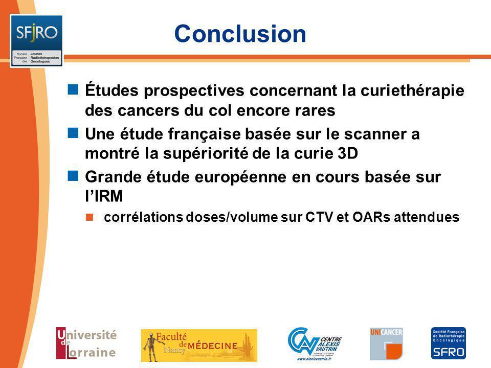 Conclusion Études prospectives concernant la curiethérapie des cancers du col encore rares Une étude française basée sur le scanner a montré la supéri