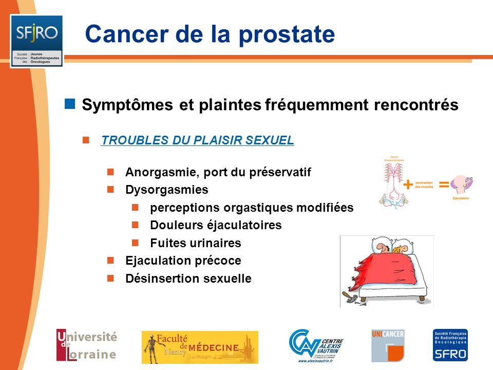 Cancer de la prostate Symptômes et plaintes fréquemment rencontrés TROUBLES DU PLAISIR SEXUEL Anorgasmie, port du préservatif Dysorgasmies perceptions