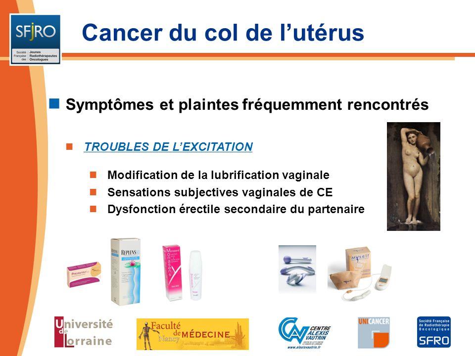 Cancer du col de lutérus Symptômes et plaintes fréquemment rencontrés TROUBLES DE LEXCITATION Modification de la lubrification vaginale Sensations sub