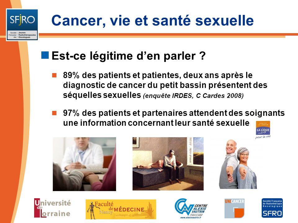 Cancer, vie et santé sexuelle Est-ce légitime den parler ? 89% des patients et patientes, deux ans après le diagnostic de cancer du petit bassin prése