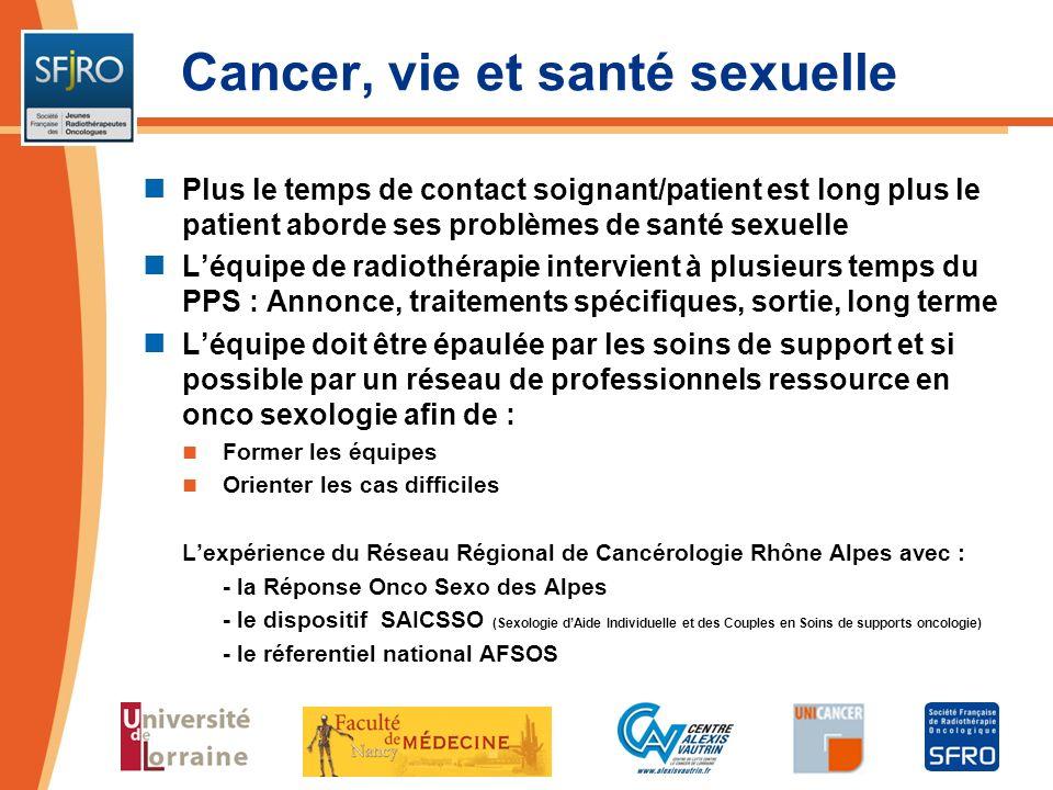 Plus le temps de contact soignant/patient est long plus le patient aborde ses problèmes de santé sexuelle Léquipe de radiothérapie intervient à plusie