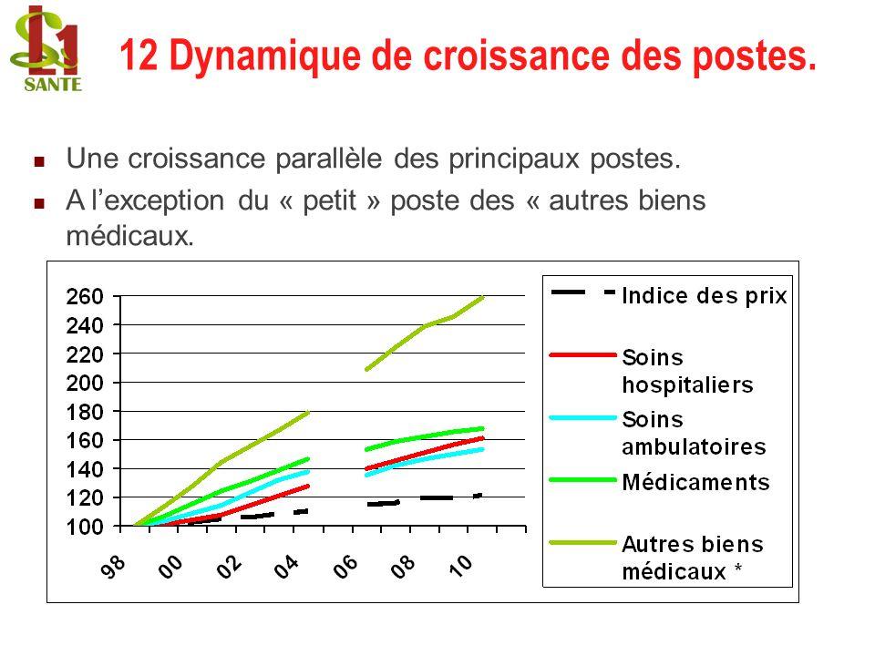 12 Dynamique de croissance des postes. Une croissance parallèle des principaux postes. A lexception du « petit » poste des « autres biens médicaux. 12