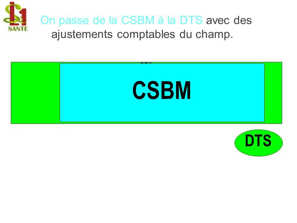 On passe de la CSBM à la DTS avec des ajustements comptables du champ.