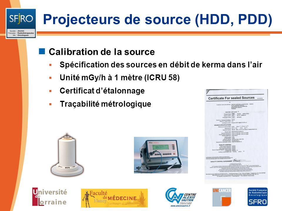 Projecteurs de source (HDD, PDD) Calibration de la source Spécification des sources en débit de kerma dans lair Unité mGy/h à 1 mètre (ICRU 58) Certif
