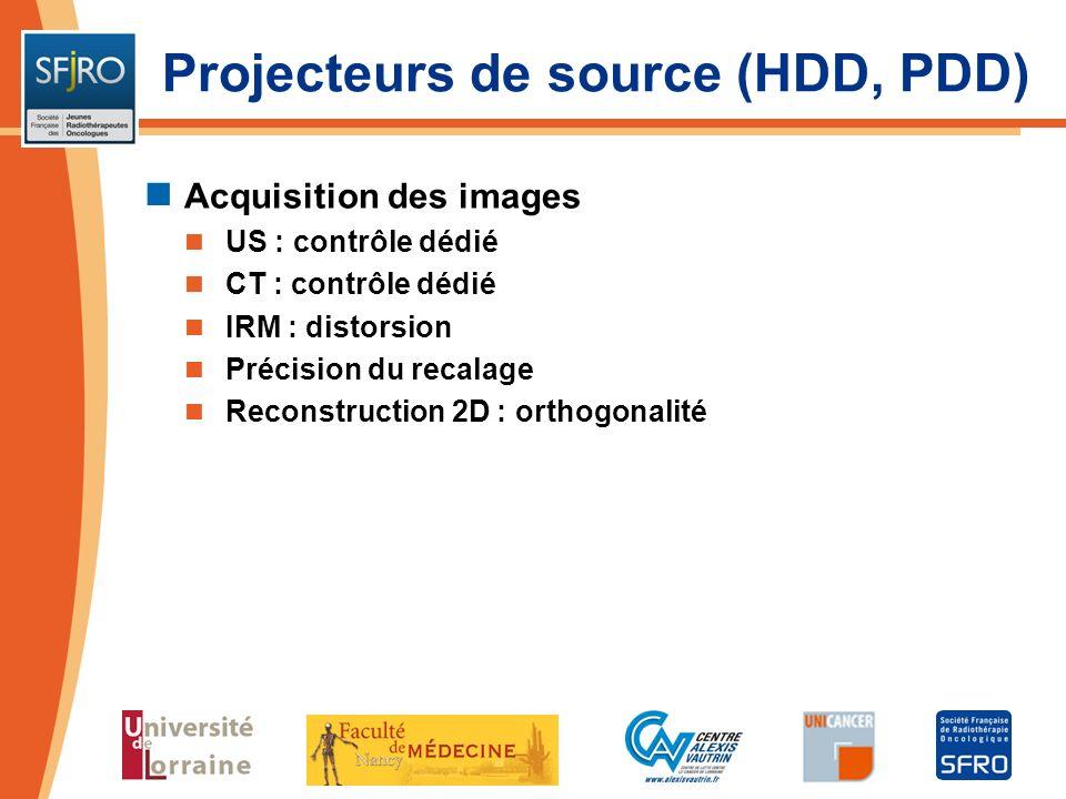 Projecteurs de source (HDD, PDD) Acquisition des images US : contrôle dédié CT : contrôle dédié IRM : distorsion Précision du recalage Reconstruction