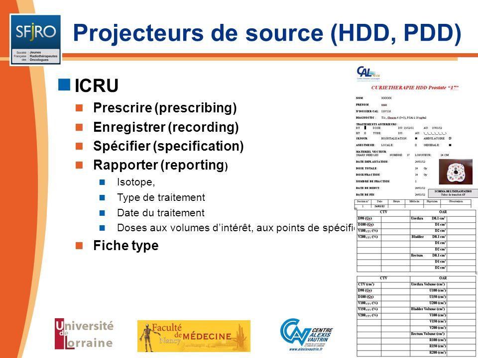ICRU Prescrire (prescribing) Enregistrer (recording) Spécifier (specification) Rapporter (reporting ) Isotope, Type de traitement Date du traitement D