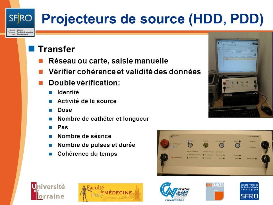 Transfer Réseau ou carte, saisie manuelle Vérifier cohérence et validité des données Double vérification: Identité Activité de la source Dose Nombre d