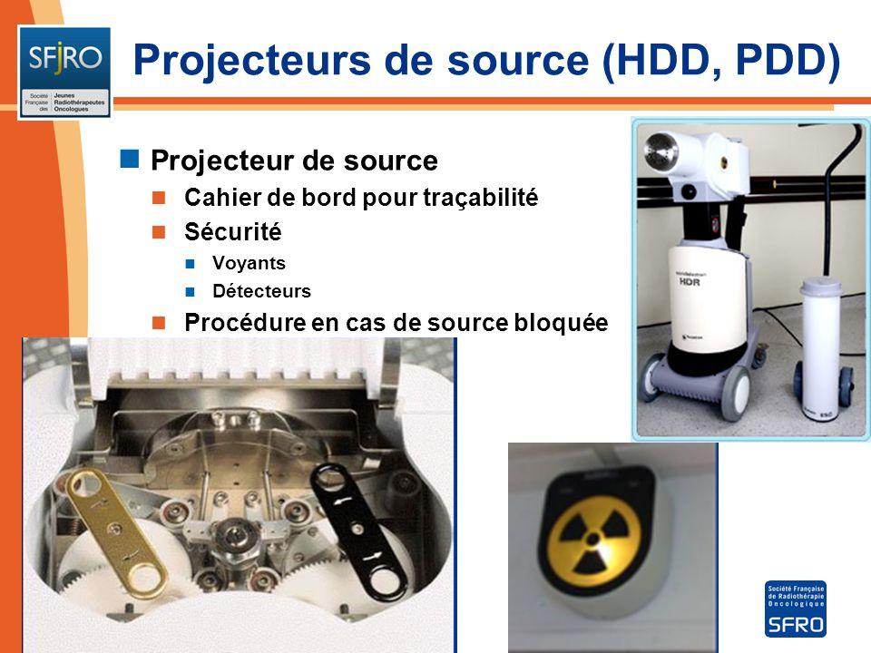 Projecteur de source Cahier de bord pour traçabilité Sécurité Voyants Détecteurs Procédure en cas de source bloquée