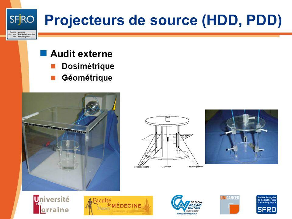 Audit externe Dosimétrique Géométrique Projecteurs de source (HDD, PDD)