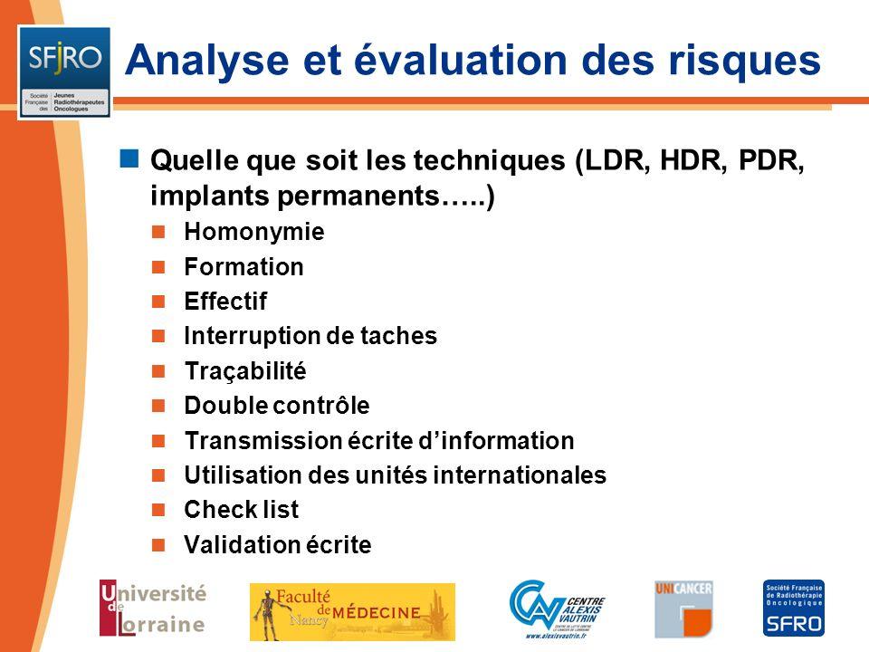 Quelle que soit les techniques (LDR, HDR, PDR, implants permanents…..) Homonymie Formation Effectif Interruption de taches Traçabilité Double contrôle
