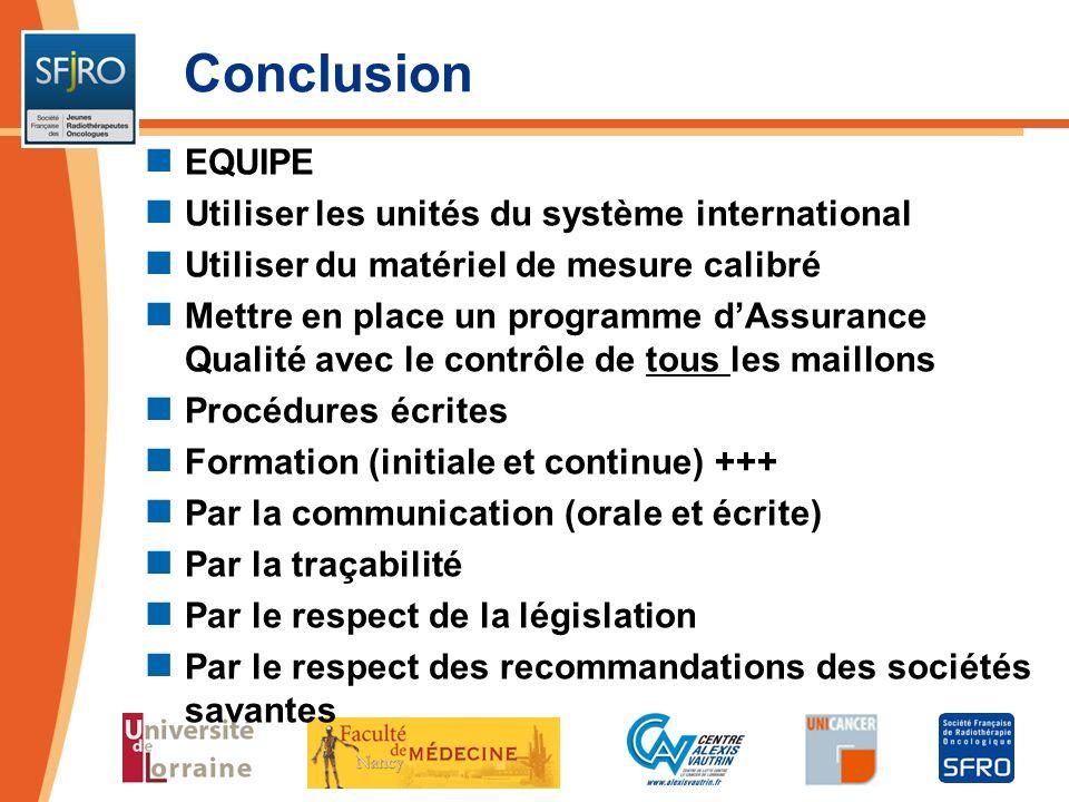 Conclusion EQUIPE Utiliser les unités du système international Utiliser du matériel de mesure calibré Mettre en place un programme dAssurance Qualité