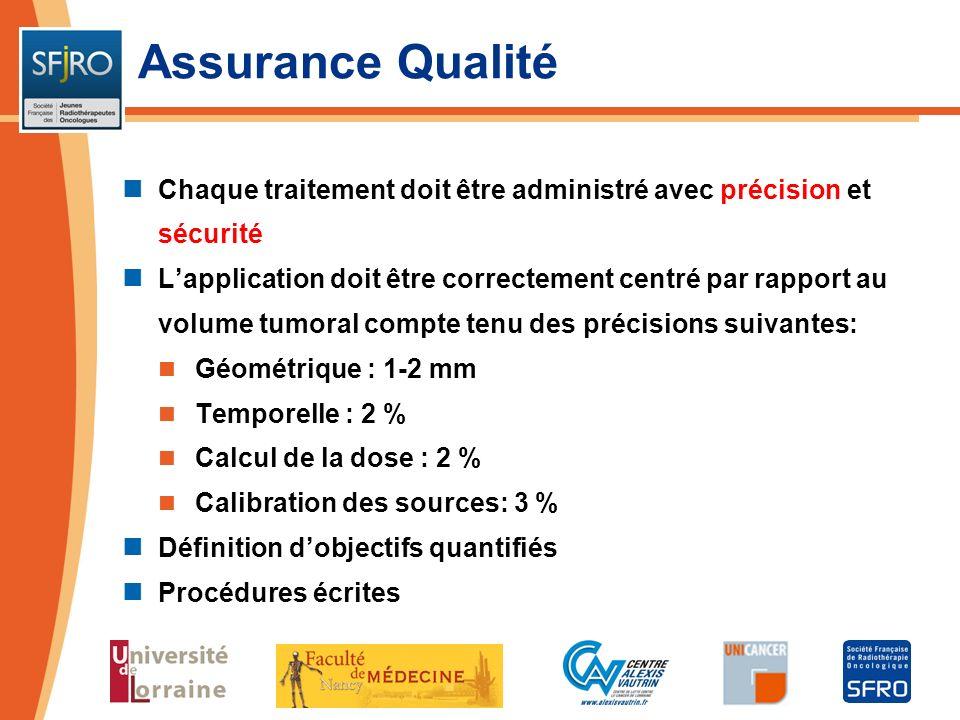 Assurance Qualité Chaque traitement doit être administré avec précision et sécurité Lapplication doit être correctement centré par rapport au volume t