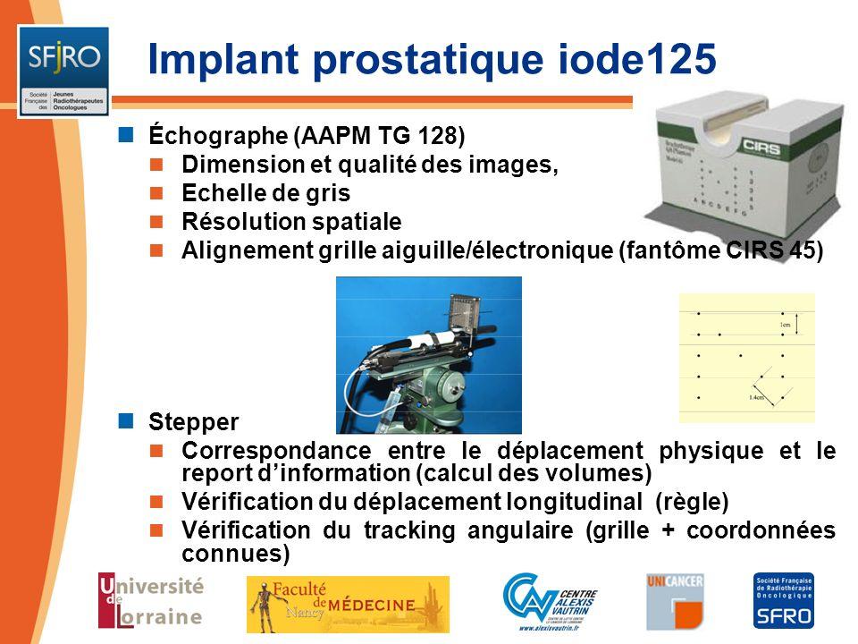 Échographe (AAPM TG 128) Dimension et qualité des images, Echelle de gris Résolution spatiale Alignement grille aiguille/électronique (fantôme CIRS 45