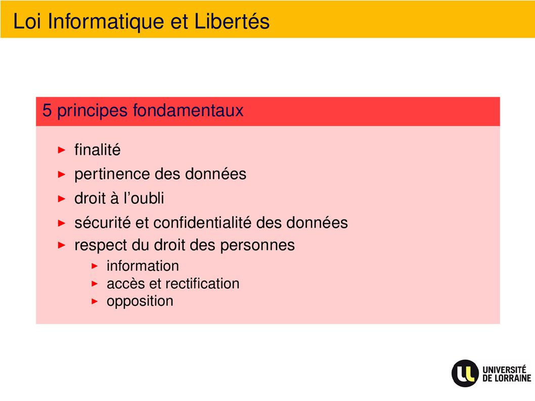 Loi Informatique et Libertés 5 principes fondamentaux