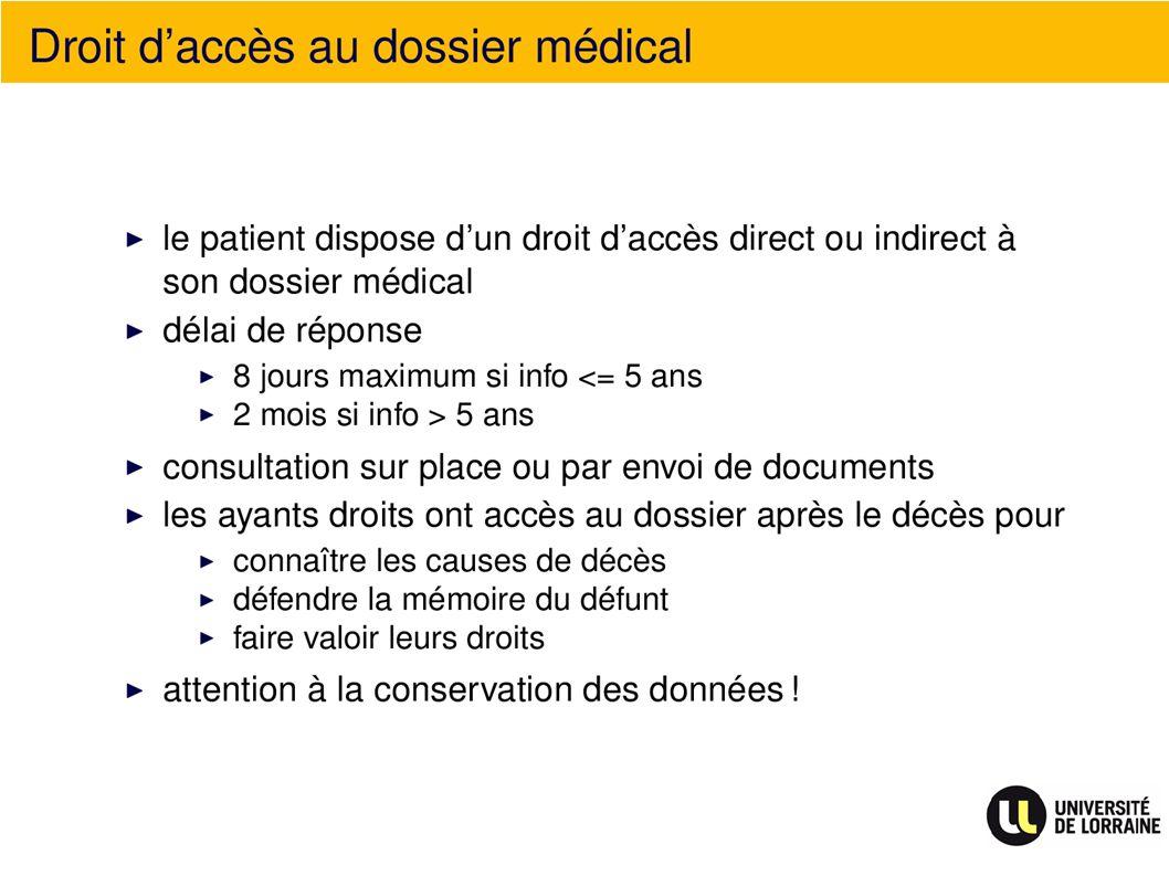 Droit daccès au dossier médical