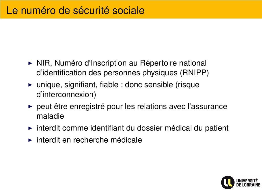 Le numéro de sécurité sociale