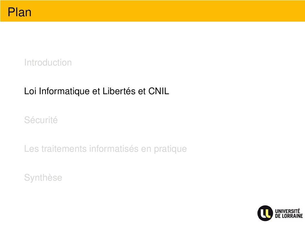 Plan Loi Informatique et Libertés et CNIL