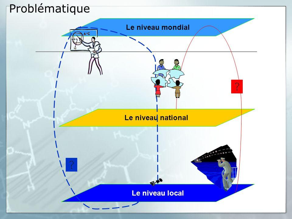 Problématique Le niveau mondial Le niveau local Le niveau national