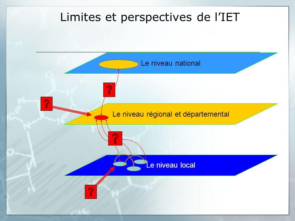 Limites et perspectives de lIET Le niveau national Le niveau local Le niveau régional et départemental
