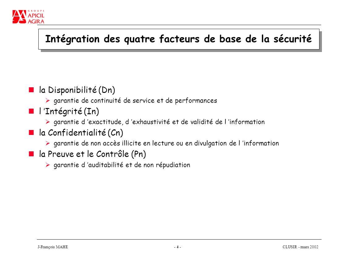 CLUSIR - mars 2002 J-François MAHE- 4 - Intégration des quatre facteurs de base de la sécurité la Disponibilité (Dn) garantie de continuité de service et de performances l Intégrité (In) garantie d exactitude, d exhaustivité et de validité de l information la Confidentialité (Cn) garantie de non accès illicite en lecture ou en divulgation de l information la Preuve et le Contrôle (Pn) garantie d auditabilité et de non répudiation