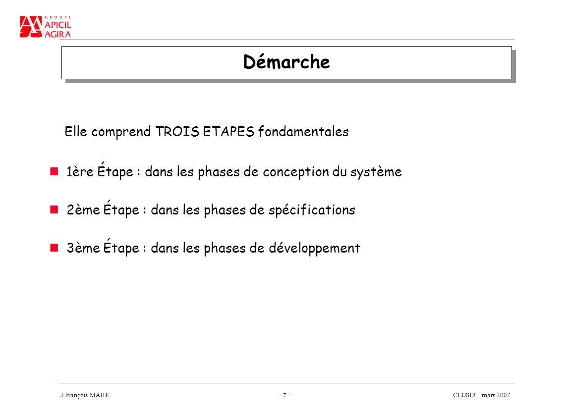 CLUSIR - mars 2002 J-François MAHE- 7 - Démarche 1ère Étape : dans les phases de conception du système 2ème Étape : dans les phases de spécifications 3ème Étape : dans les phases de développement Elle comprend TROIS ETAPES fondamentales