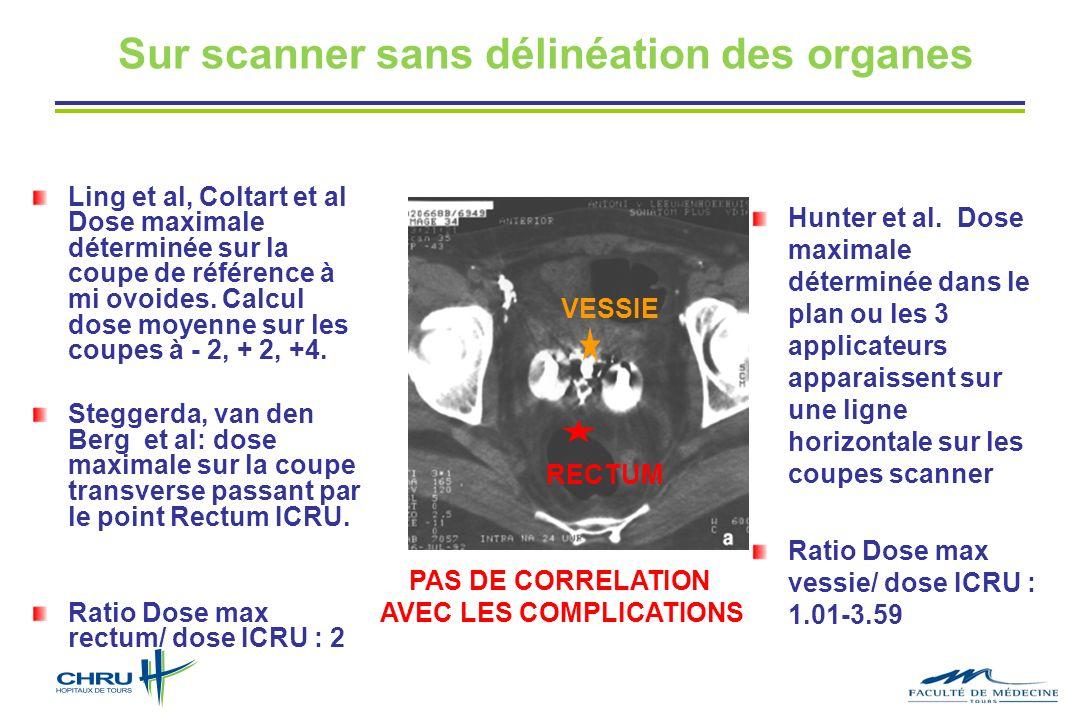 Sur scanner sans délinéation des organes Hunter et al. Dose maximale déterminée dans le plan ou les 3 applicateurs apparaissent sur une ligne horizont