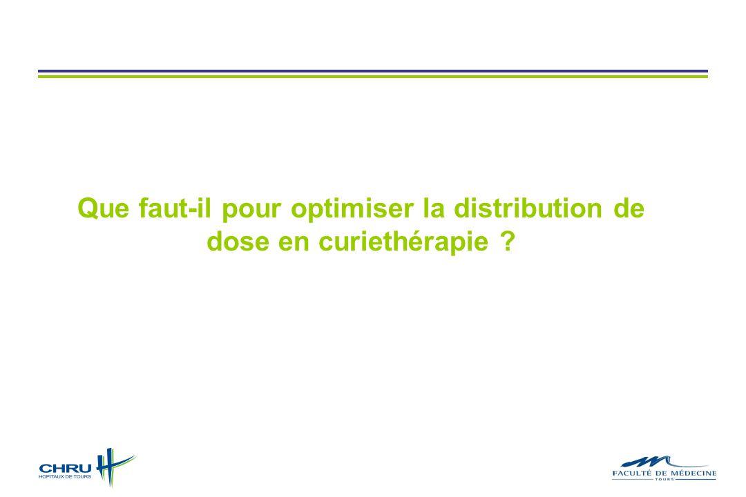 Que faut-il pour optimiser la distribution de dose en curiethérapie ?