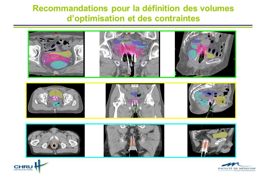 Recommandations pour la définition des volumes doptimisation et des contraintes