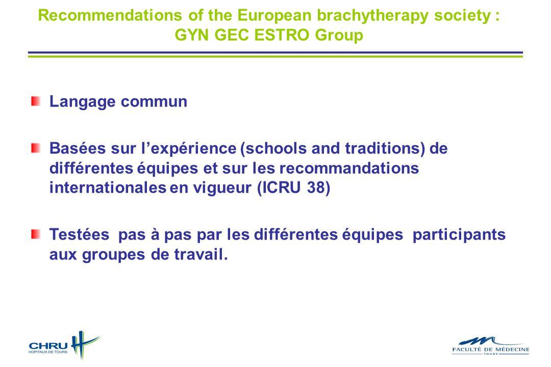 Langage commun Basées sur lexpérience (schools and traditions) de différentes équipes et sur les recommandations internationales en vigueur (ICRU 38)