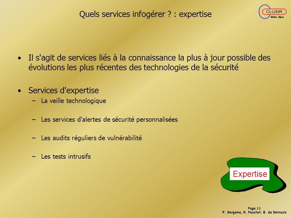 Page 10 F.Bergame, R. Peuchot, E. de Bernouis Quels services infogérer .