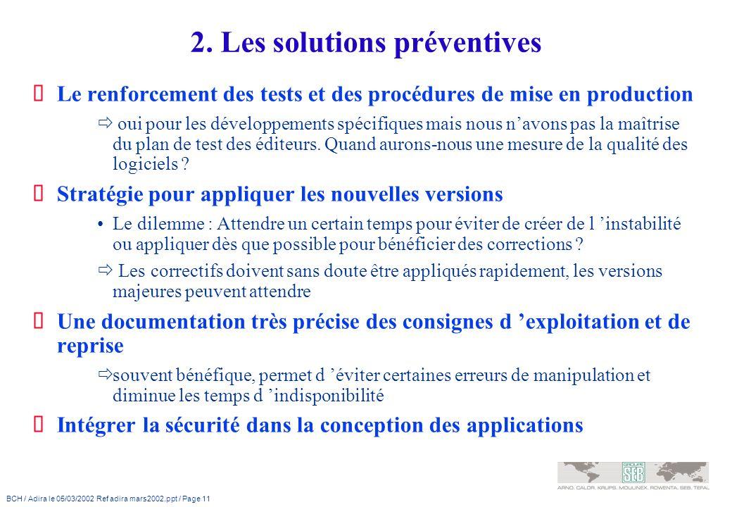 BCH / Adira le 05/03/2002 Ref adira mars2002.ppt / Page 11 2. Les solutions préventives Le renforcement des tests et des procédures de mise en product