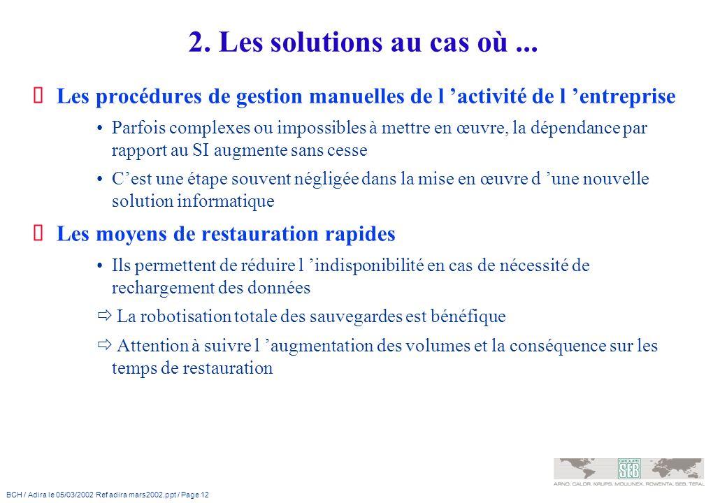 BCH / Adira le 05/03/2002 Ref adira mars2002.ppt / Page 12 2. Les solutions au cas où... Les procédures de gestion manuelles de l activité de l entrep