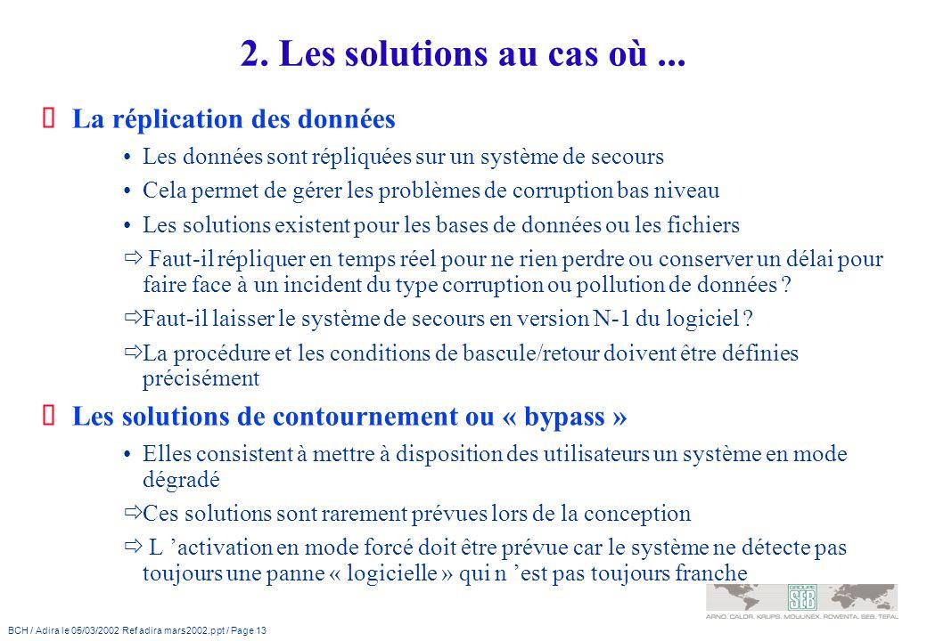 BCH / Adira le 05/03/2002 Ref adira mars2002.ppt / Page 13 2. Les solutions au cas où... La réplication des données Les données sont répliquées sur un