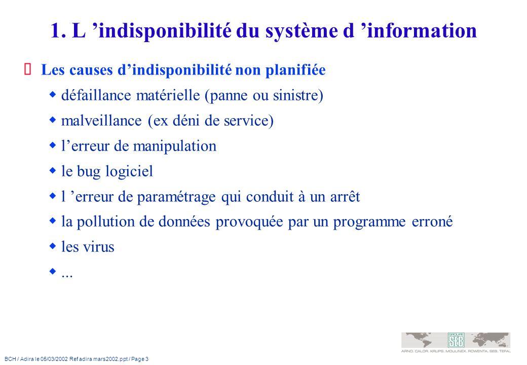 BCH / Adira le 05/03/2002 Ref adira mars2002.ppt / Page 3 1. L indisponibilité du système d information Les causes dindisponibilité non planifiée défa