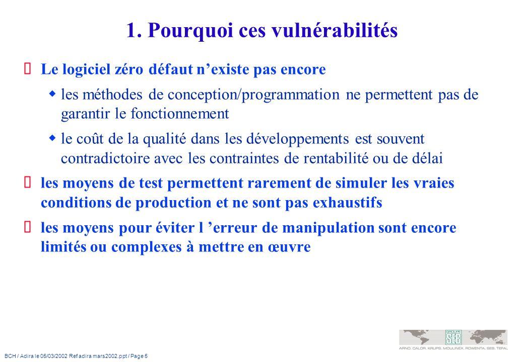 BCH / Adira le 05/03/2002 Ref adira mars2002.ppt / Page 5 1. Pourquoi ces vulnérabilités Le logiciel zéro défaut nexiste pas encore les méthodes de co