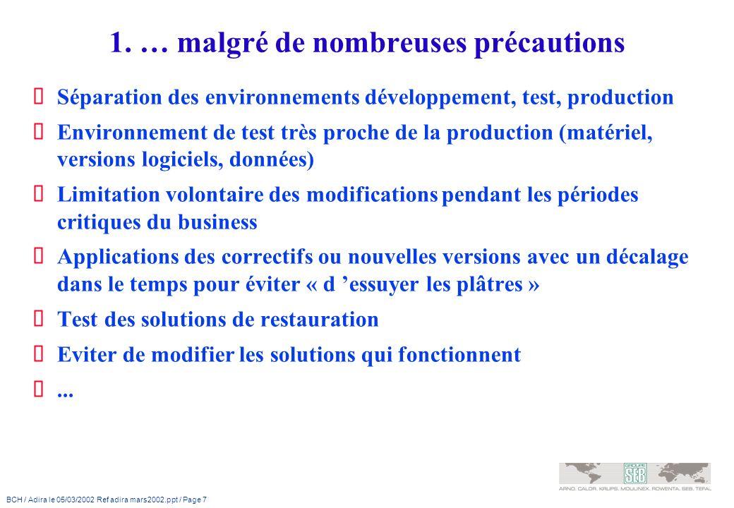 BCH / Adira le 05/03/2002 Ref adira mars2002.ppt / Page 7 1. … malgré de nombreuses précautions Séparation des environnements développement, test, pro