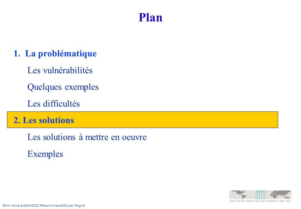 BCH / Adira le 05/03/2002 Ref adira mars2002.ppt / Page 9 Plan 1. La problématique Les vulnérabilités Quelques exemples Les difficultés 2. Les solutio
