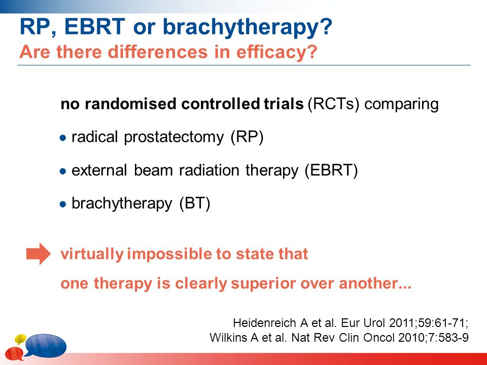 RP, EBRT or brachytherapy. Are there differences in efficacy.