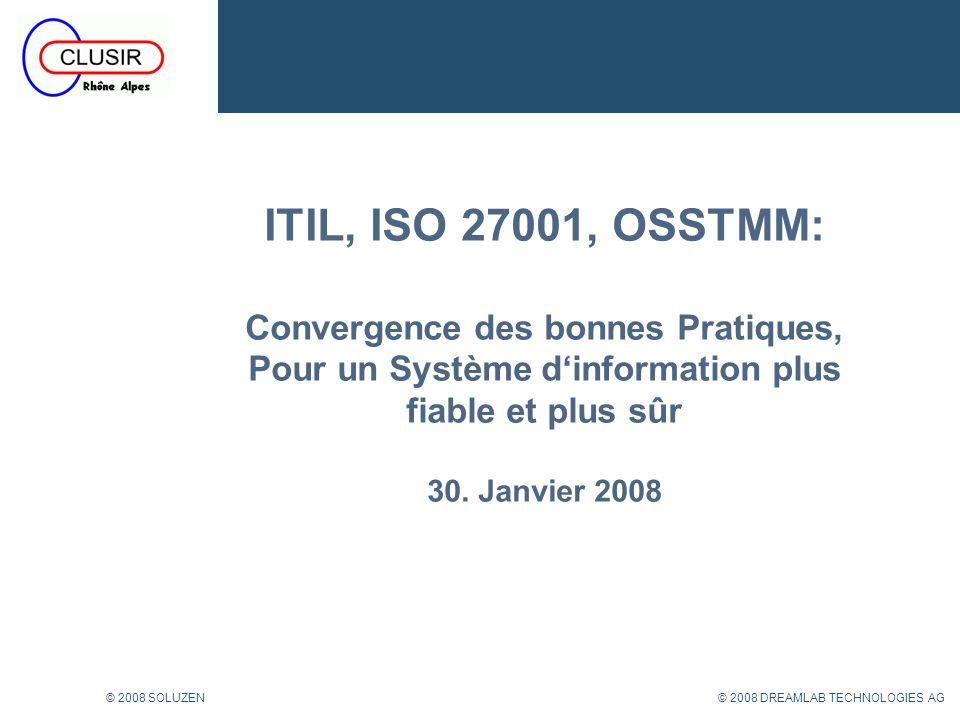 32 © 2008 DREAMLAB TECHNOLOGIES AG© 2008 SOLUZEN ISO27001: Contrôles et mesure du niveau de sécurité 32