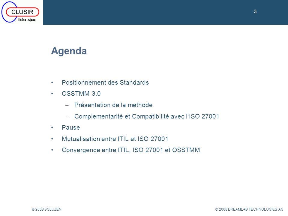 34 © 2008 DREAMLAB TECHNOLOGIES AG© 2008 SOLUZEN OSSTMM vs ISO 27001 34 ISO 27001 Exigences OSSTMM Réponses 4.2.1.a : scope du SMSIScope de laudit: protection périmétrique dun réseau (assets) 4.2.1.c: définition méthode danalyse de risquesMéthodologie OSSTMM Mode de calcul du RAV (%) : feuille de calcul 4.2.1.c.2: Critères dacceptation risques et niveau de risques acceptables (5.1.f) % du RAV objectif défini par le propriétaire des assets > 90% alors certification possible (RAV reproductible et comparable) 4.2.1.d: identification des risquesAssets testés: pare-feux… Vulnérabilités mesurées: mauvais paramétrage 4.2.1.e: analyse et évaluation des risquesRésultats des tests (impacts mesurés): pénétration possible du réseau RAV détermine si risque acceptable 4.2.1.f: évaluer les options de traitement des risques Envisager mesures de sécurité: règles du pare- feu appropriées, doubler appliances… 4.2.1.g, h, i, j: sélection des mesures annexe A (17799) & SoA (déclaration dapplicabilité) Rapport daudit & justification des mesures vs business