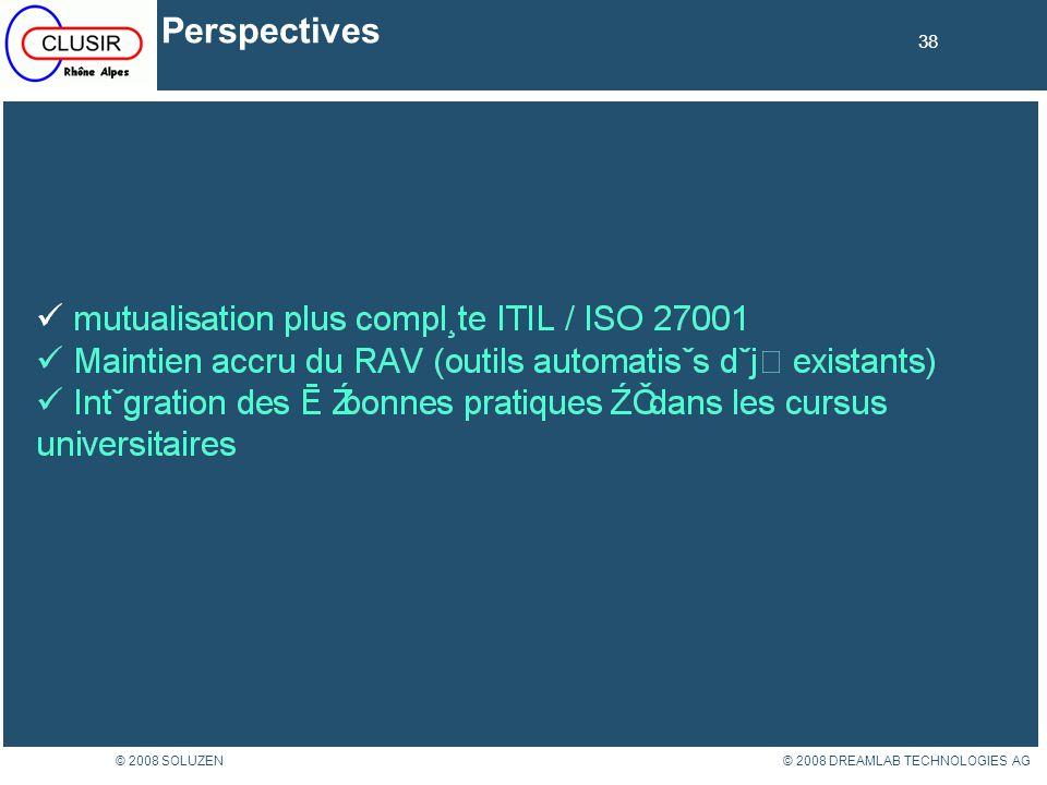 38 © 2008 DREAMLAB TECHNOLOGIES AG© 2008 SOLUZEN Perspectives 38
