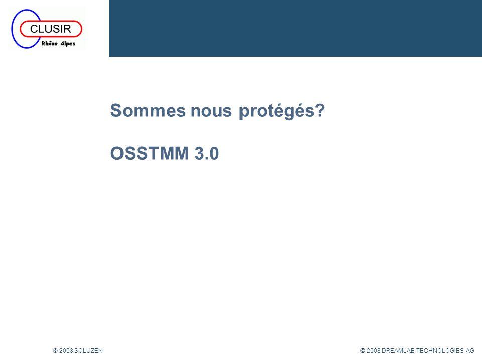 20 © 2008 DREAMLAB TECHNOLOGIES AG© 2008 SOLUZEN OSSTMM: Controls B PROCESS (Class B) – Non-repudiation: Traces utilisateur Exemple: Log Files qui permet de déterminer lidentité dun visiteur dun site web.