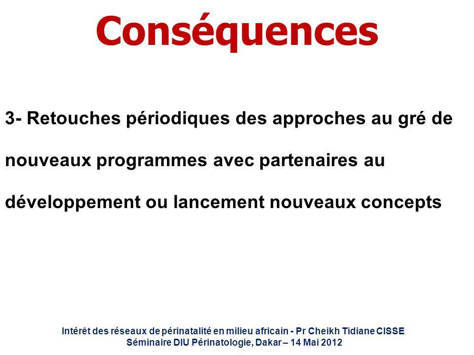 Intérêt des réseaux de périnatalité en milieu africain - Pr Cheikh Tidiane CISSE Séminaire DIU Périnatologie, Dakar – 14 Mai 2012 Conséquences 3- Reto