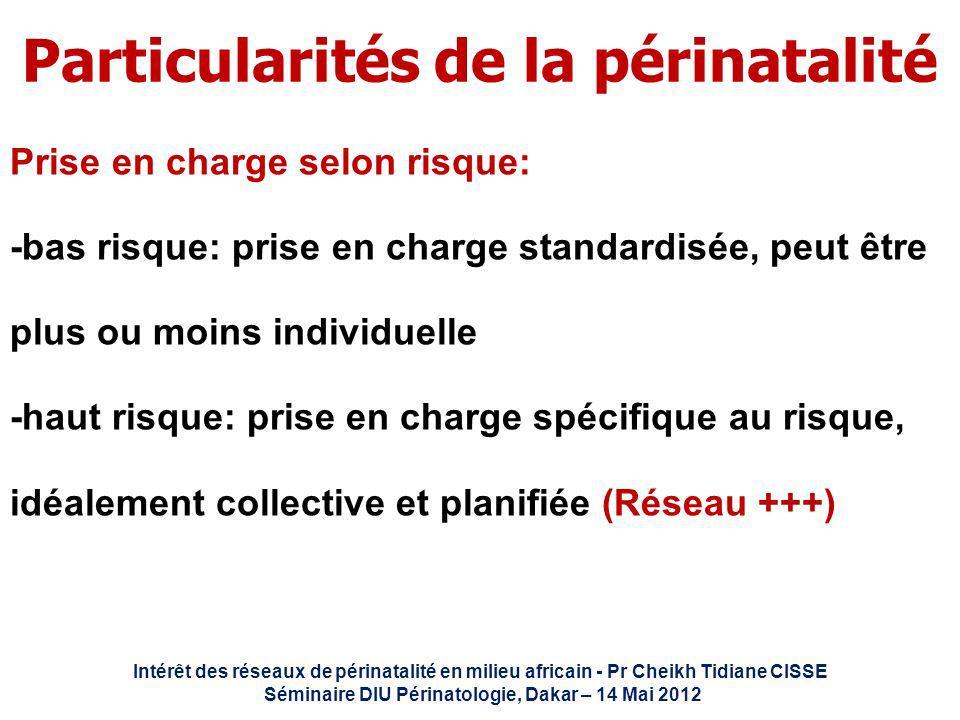 Intérêt des réseaux de périnatalité en milieu africain - Pr Cheikh Tidiane CISSE Séminaire DIU Périnatologie, Dakar – 14 Mai 2012 Particularités de la