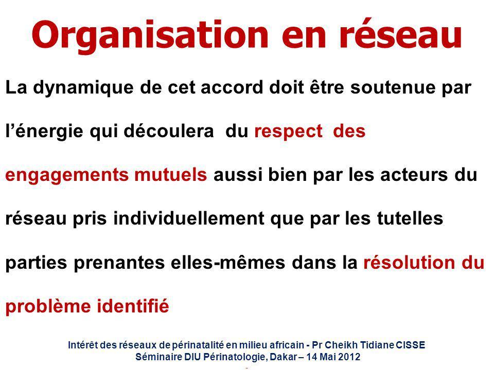 Intérêt des réseaux de périnatalité en milieu africain - Pr Cheikh Tidiane CISSE Séminaire DIU Périnatologie, Dakar – 14 Mai 2012 - Organisation en ré