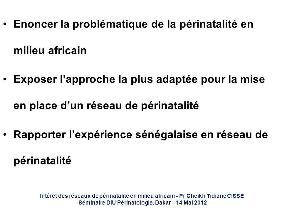 Enoncer la problématique de la périnatalité en milieu africain Exposer lapproche la plus adaptée pour la mise en place dun réseau de périnatalité Rapp