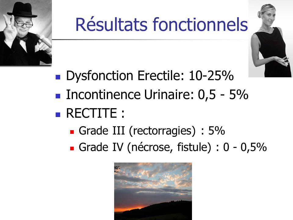 Dysfonction Erectile: 10-25% Incontinence Urinaire: 0,5 - 5% RECTITE : Grade III (rectorragies) : 5% Grade IV (nécrose, fistule) : 0 - 0,5%